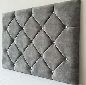 """Marble Velvet Headboard Divan Bed- Single, Double, King - 24"""" - FREE DELIVERY"""