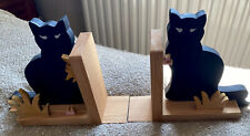 Old Wooden Wood Cat Kitty Bookends Book Ends Black Cats