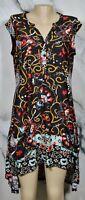 REBORN Black Multicolor Floral Paisley Print High Low Swing Dress Small Short Sl