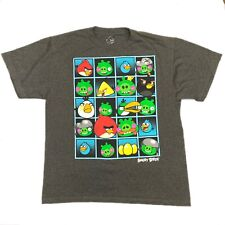 Angry Birds Mens Gray Graphic Short Sleeve T-shirt Size XL