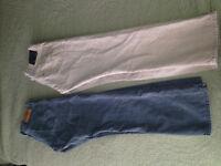 LEVI STRAUSS pants lot 33 x 32 KHAKI SAND + OLIVE 514 style levis jeans 2 PAIR