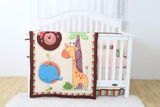 4 Piece Safari Jungle Friends Baby Nursery Crib Bedding Set