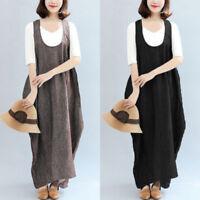 Women Oversize Baggy Long Maxi Dress Casual Vintage Cotton Shirt Dress Plus Size