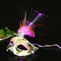 Women LED Mask Halloween Masquerade Party Fancy Dress Costume Props Feather Mask