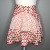 Vintage 50s Red and Cream Starburst Half Apron with Front Organza Pocket