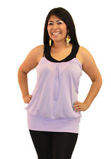 Lily Purple Black Plus Size Blouse HandMade Solid Sleeveless Stretchy Top Halter