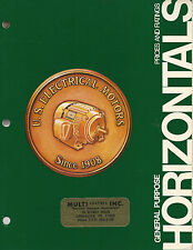 Horizontal Motors Prices & Ratings 1977 Booklet US Electrical Motors Milford CT