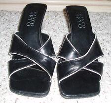 FRANCO SARTO  Leather Wedge Heel Slide Sandals`Black/White~Size 7.5M