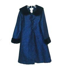 Jenny & Me Duster Jacket Dress Girls Sz 6 Blue Black Faux Fur Collar Cuffs Long