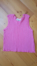 Mädchen T-Shirt pink Gr. 128 Top bauchfrei wie neu Kinder Bluse Musterteile