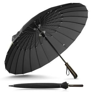 Ultra Strong Stylish Windproof Rain Umbrella Golf Hail Wind 24k Large Size Black