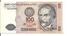 PERU, 100 INTIS, 1987 , aUNC