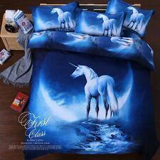 3D Unicorn Quilt Doona Duvet Cover Set Queen Size Bed New Blue Linen Pillowcases
