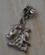 Horse Head Pony Silver Bead Slider Large Hole fits European Charm Bracelet