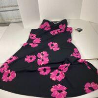 Anne Klein Womens Dress Black Pink Floral Midi Scoop Neck Sleeveless S New