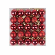 Pack of 25 Miniature Shiny & Matte Christmas Tree Baubles (Various Colours)
