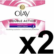 2 x Olay Double Action Moisturiser Normal Dry Skin Night Cream Classic Care 50ml