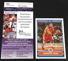 DERRICK ROSE 2007-08 TOPPS McDONALD's ALL AMERICAN SIGNED AUTOGRAPHED CARD #JSA