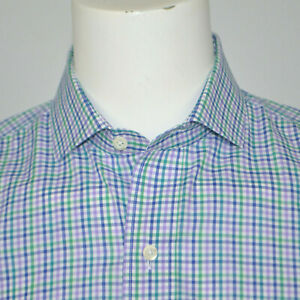 LEDBURY Classic Fit Green Purple Gingham Check Cotton Dress Shirt Sz 16.5 - 35