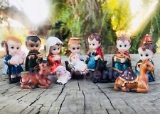 Christmas Nativity Set Scene Figures Cartoon Figurines Baby Jesus-12-PIECE SET
