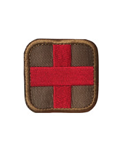 Tan Medic Red Cross Medical Military Tactical Embroidered Hook and Loop Patch