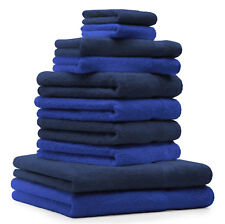 """10 uds. Juego de toallas """"Classic"""" – Premium , color: azul marino y azul ,"""