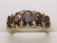 Vintage Style 9carat 9k Yellow Gold Garnet Ring UK size L - US 5 1/8