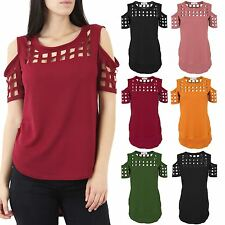 Ladies Cold Shoulder Laser Cut Out Caged High Low Textured Blouse Top T-Shirt