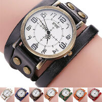 Vintage Men Women Cow Leather Bracelet Watch Boy Girl Quartz Sports Wrist Watch