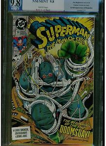 SUPERMAN MAN OF STEEL 18 PGX 9.8 WHITE PAGES 1ST FULL DOOMSDAY 1ST PRINTING 1992
