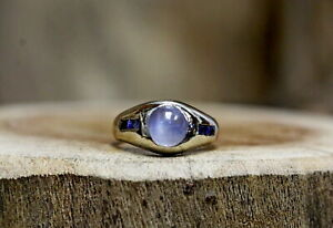 14Kt White Gold Moonstone and Sapphire Men's Ring Size 7 !