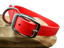 BioThane EASY CLEAN Waterproof RED Dog Collar w Stainless Steel MADE IN USA