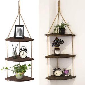 Solid Wooden Rope Hanging Corner Wall Shelves Storage Organizer Rack Home Decor