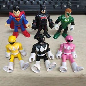 Lot 6 Imaginext DC Superman Batman Green Lantern Power Rangers Pink Yellow Black