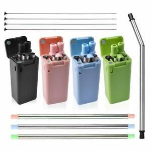 """9.05"""" Long Reusable 4 Pack Straws Stainless Steel Drinking Flexible Collapsible"""