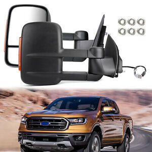 Pair Extendable Towing Mirrors Black For Ford Ranger 2012-On W/ Indicators B2