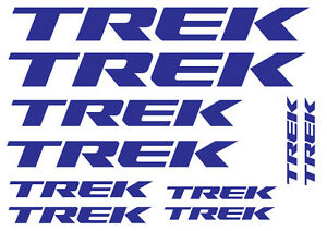 10 TREK LOGO STICKERS - 10 BICYCLE VINYL DECALS, 2 SHAPES, 18 COLOURS