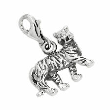 925 Sterling Silver 3D Solid Tiger Clip on Charm / Charms / Chinese Zodiac