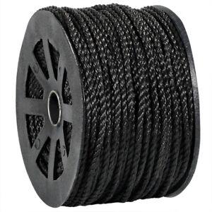 "1/4"" 1,150 lb Black Twisted Polypropylene Rope, Single Roll"