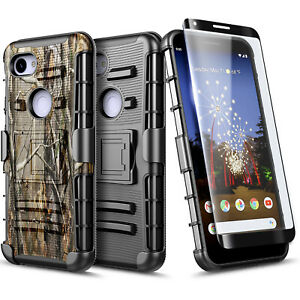 For Google Pixel 3a / 3a XL Case Belt Clip Holster Phone Cover + Tempered Glass