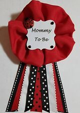 Cute as a Bug Little Lady Black and Red Polka Dots Mommy to Be Ribbon Pin Badge