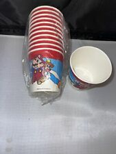 VTG 1988 Nintendo Super Mario Brothers Party Paper Cups Lot Of 12