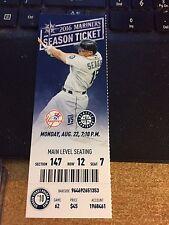 2016 Seattle Mariners Vs New York Yankees Ticket Stub 8/22 Gary Sanchez Hr #7 #8