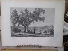 Vintage Print,BANKS OF LAKE NEMI,Rome,Francis Wey,1872