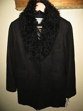 NEW Jonathan Michael Women Mongolian Lamb Fur Collar Wool Blend Coat Jacket Sz 8