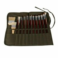Art Paint Brush Holder 20 Slots Handmade Canvas Paintbrush Holder Roll Up Bag Paint Pen Case Organizer Stationery Pen Storage Pouch for Acrylic Oil Watercolor Brush Draw Pen