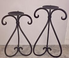 Vintage Heavy Hand-Wrought Iron / Metal Candle Holders Rustic Western Americana