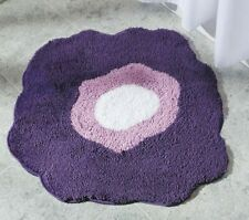 NEW iDESIGN PURPLE RUG BATH MAT POPPY MICROFIBER FLORAL GIRL ROOM ACCENT NONSKID