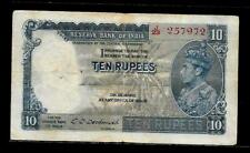 Rs10/- British India KING GEORGE VI ISSUE Signed By C.D DESHMUKH SIDE FACE