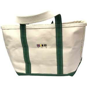 Vintage LL Bean Small Boat And Tote Bag Green and Cream Self Standing